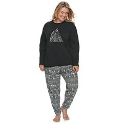 Plus Size Jammies For Your Families 12 Days of Christmas Top & Five Golden Rings Fairisle Microfleece Jogger Pants Pajama Set