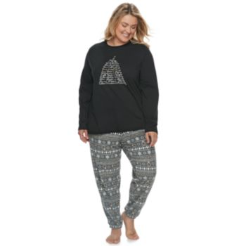 Plus Size Jammies For Your Families 12 Days of Christmas Top & Five Golden Rings Fairisle Microfleece Jogger Pants Pajama Set