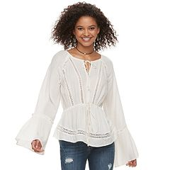 Juniors' American Rag Bell Sleeve Peasant Blouse