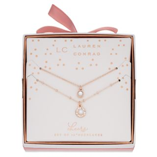 LC Lauren Conrad Simulated Pearl & Crystal Pendant Necklace Set