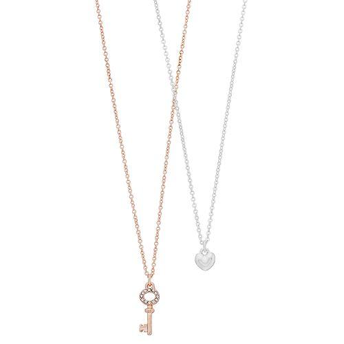 LC Lauren Conrad Two Tone Heart & Key Pendant Necklace Set