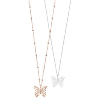 LC Lauren Conrad Two Tone Filigree Butterfly Pendant Necklace Set