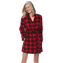 Women's Jammies For Your Families Thanksgiving Buffalo Checkered Microfleece Robe