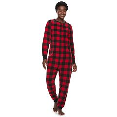Women's Jammies For Your Families Thanksgiving Buffalo Checkered Microfleece One-Piece Pajamas