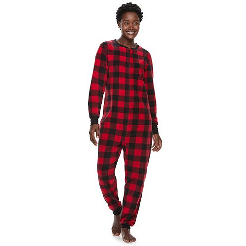 Women s Jammies For Your Families Thanksgiving Buffalo Checkered  Microfleece One-Piece Pajamas 7de53da1f