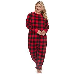 Plus Size Jammies For Your Families Thanksgiving Buffalo Checkered Microfleece One-Piece Pajamas