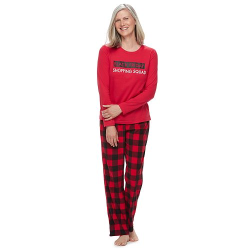 """Women's Jammies For Your Families Thanksgiving """"Black Friday Shopping Squad"""" Top & Buffalo Checkered Microfleece Bottoms Pajama Set"""