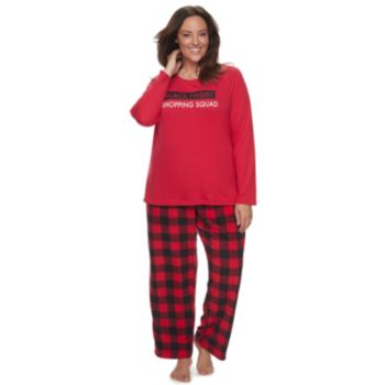 """Plus Size Jammies For Your Families Thanksgiving """"Black Friday Shopping Squad"""" Top & Buffalo Checkered Microfleece Bottoms Pajama Set"""