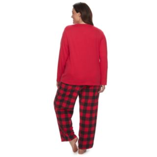 "Plus Size Jammies For Your Families Thanksgiving ""Black Friday Shopping Squad"" Top & Buffalo Checkered Microfleece Bottoms Pajama Set"