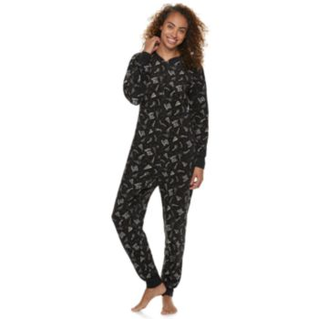 Women's Jammies For Your Families New Year's Eve Microfleece Party Pattern One-Piece Pajamas