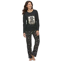 Women's Jammies For Your Families New Year's Eve 'Party Patrol' Top & Microfleece Bottoms Pajama Set