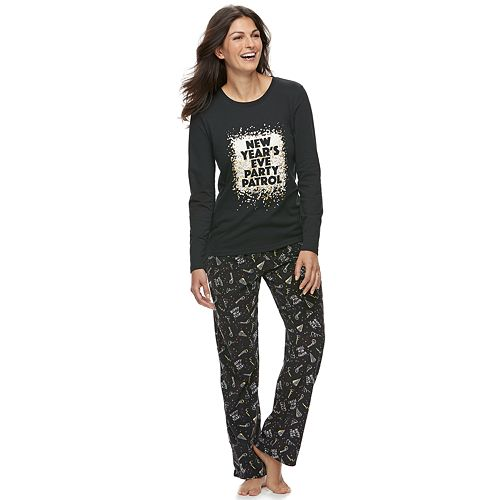 "Women's Jammies For Your Families New Year's Eve ""Party Patrol"" Top & Microfleece Bottoms Pajama Set"