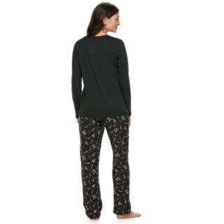 """Women's Jammies For Your Families New Year's Eve """"Party Patrol"""" Top & Microfleece Bottoms Pajama Set"""