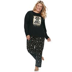 Plus Size Jammies For Your Families New Year's Eve 'Party Patrol' Top & Microfleece Bottoms Pajama Set