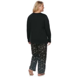 "Plus Size Jammies For Your Families New Year's Eve ""Party Patrol"" Top & Microfleece Bottoms Pajama Set"