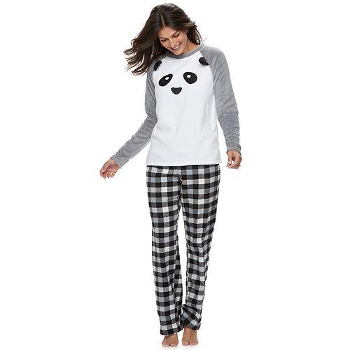 Women's Jammies For Your Families Panda Bear Microfleece Top & Plaid Bottoms Pajama Set