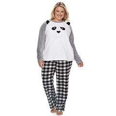 Plus Size Jammies For Your Families Panda Bear Microfleece Top & Plaid Bottoms Pajama Set