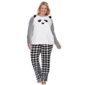 Plus Size Jammies For Your Families Panda Bear Microfleece Top & Plaid Bottoms Pajama Set