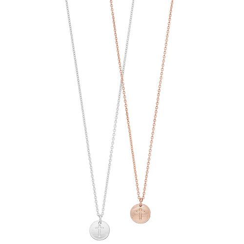LC Lauren Conrad Two Tone Cross Disc Pendant Necklace Set