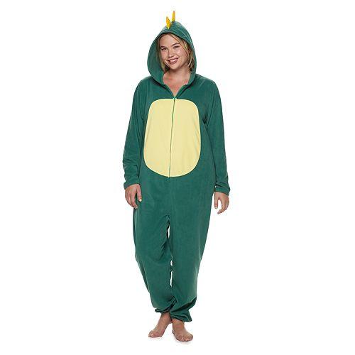Plus Size Jammies For Your Families Dino Microfleece One-Piece Pajama Set