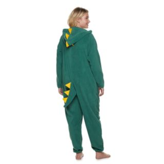 Plus Size Jammies For Your Families Dino Microfleece One-Piece Pajama Set