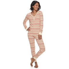 Women's LC Lauren Conrad Jammies For Your Families Knit Winter Fairisle Top & Bottoms Pajama Set