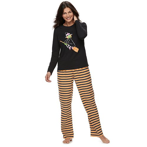 Women's Jammies For Your Families Halloween Top & Microfleece Striped Bottoms Pajama Set
