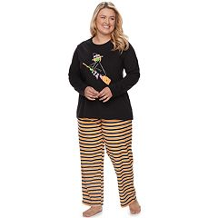 Plus Size Jammies For Your Families Halloween Top & Microfleece Striped Bottoms Pajama Set