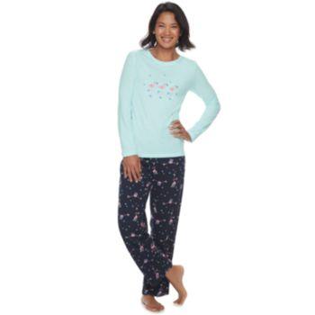 Women's Jammies For Your Families Skating Flamingos Top & Bottoms Pajama Set