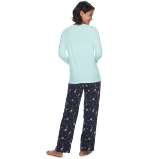 Women's Jammies For Your Families Skating Flamingos Top & Bottoms Pajama Set