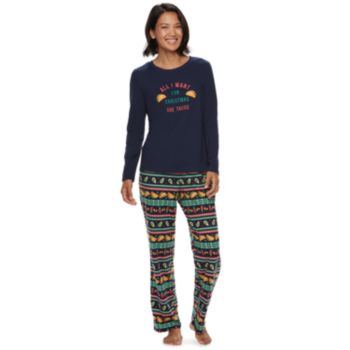 """Women's Jammies For Your Families """"Guacin' Around the Christmas Tree"""" Top & Holiday Taco Party Fairisle Bottoms Set"""