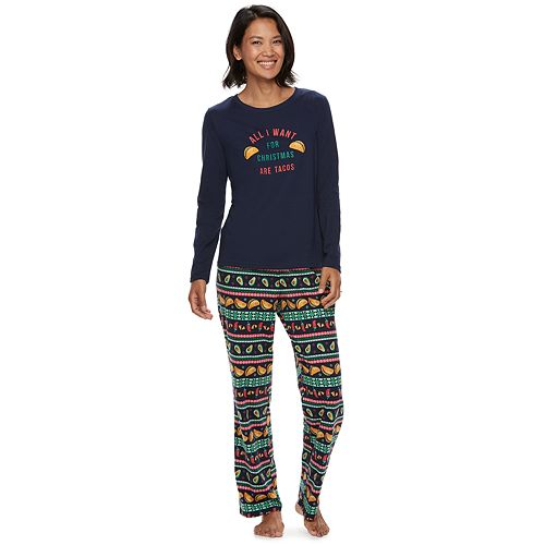 "Women's Jammies For Your Families ""Guacin' Around the Christmas Tree"" Top & Holiday Taco Party Fairisle Bottoms Set"