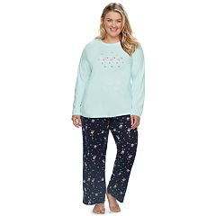Plus Size Jammies For Your Families Skating Flamingos Top & Bottoms Pajama Set