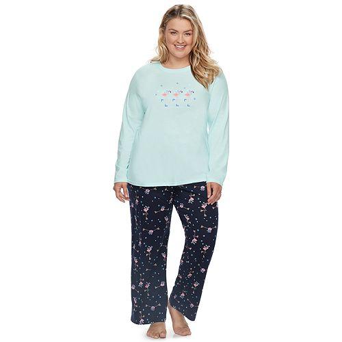 Plus Size Jammies For Your Families Skating Flamingos Top & Bottoms Pajama Set