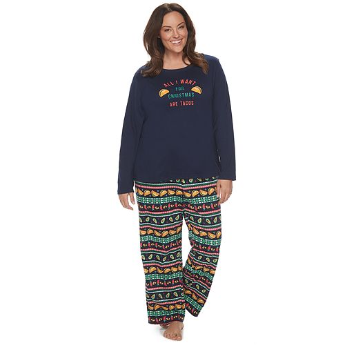 """Plus Size Jammies For Your Families """"Guacin' Around the Christmas Tree"""" Top & Holiday Taco Party Fairisle Bottoms Set"""