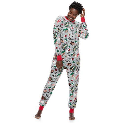 Women's Jammies For Your Families Comic Book Microfleece One-Piece Pajamas