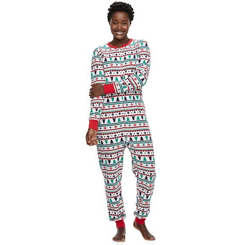 Women's Jammies For Your Families Fairisle Microfleece One-Piece Pajamas