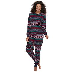 Women's Jammies For Your Families Gingerbread Man Holiday Fairisle Microfleece One-Piece Pajamas