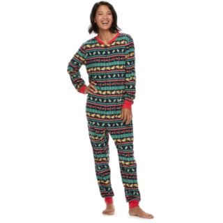 Women's Jammies For Your Families Holiday Taco Party Fairisle Microfleece One-Piece Pajamas