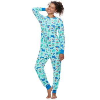 Women's Jammies For Your Families Microfleece Dog & Cat Pattern One-Piece Pajamas