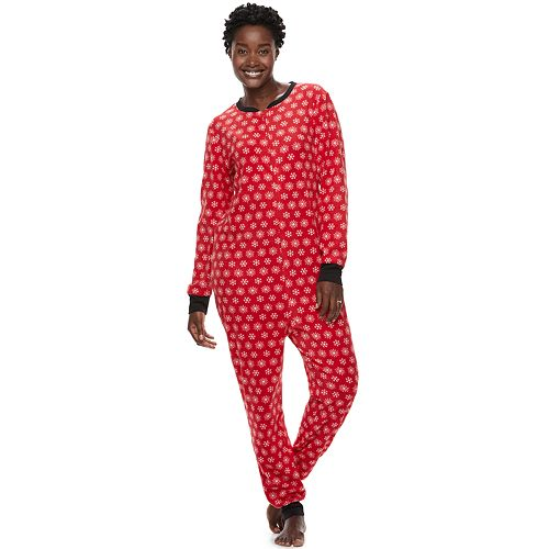 Women's Jammies For Your Families Snowflakes Microfleece One-Piece Pajamas