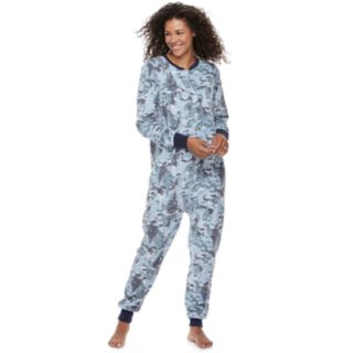 Women's Jammies For Your Families Holiday Camouflage Microfleece One-Piece Pajama Set