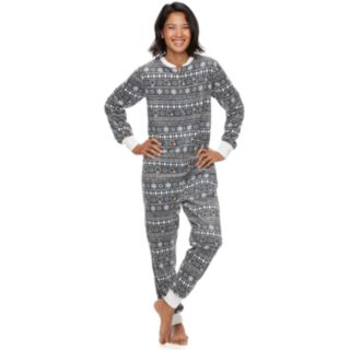 Women's Jammies For Your Families 12 Days of Christmas Five Golden Rings Fairisle Microfleece One-Piece Pajamas