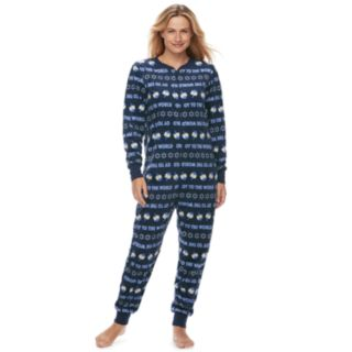 "Women's Jammies For Your Families Hanukkah ""Oy to the World"" Microfleece One-Piece Pajamas"