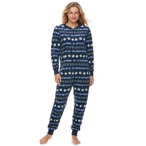 """Women's Jammies For Your Families Hanukkah """"Oy to the World"""" Microfleece One-Piece Pajamas"""