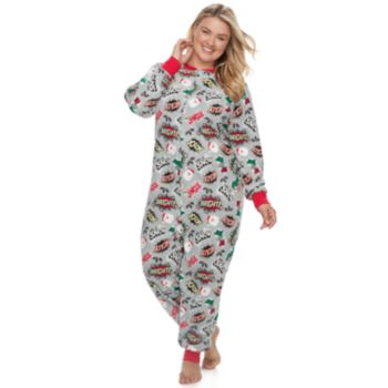 Plus Size Jammies For Your Families Comic Book Microfleece One-Piece Pajamas