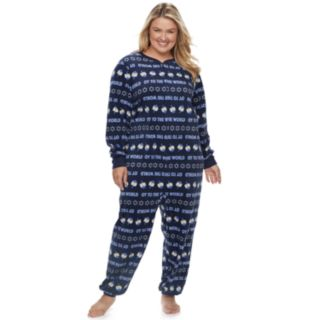 """Plus Size Jammies For Your Families Hanukkah """"Oy to the World"""" Microfleece One-Piece Pajamas"""