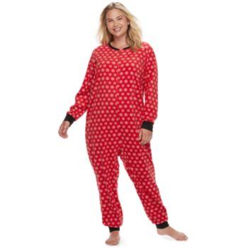 Plus Size Jammies For Your Families Snowflakes Microfleece One-Piece Pajamas
