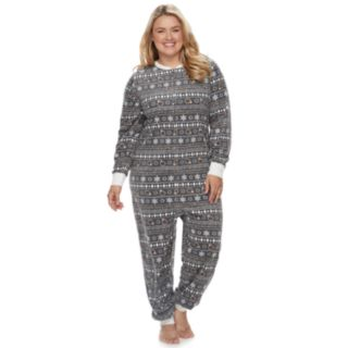 Plus Size Jammies For Your Families 12 Days of Christmas Five Golden Rings Fairisle Microfleece One-Piece Pajamas