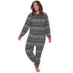 Plus Size Jammies For Your Families Holiday Taco Party Fairisle Microfleece One-Piece Pajamas